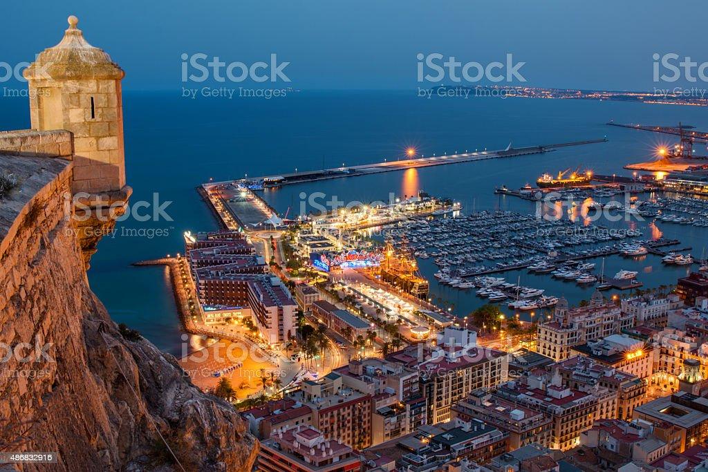 Alicante at night stock photo