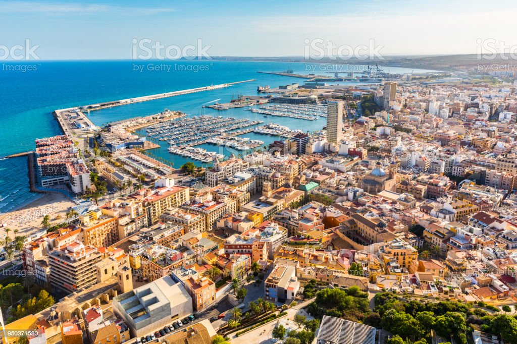 Alicante Stadt Panorama Luftbild – Foto