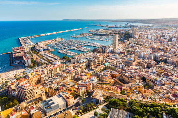 alicante stad panoramisch luchtfoto - valencia stockfoto's en -beelden