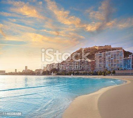 Alicante Postiguet beach in Costa Blanca of Spain