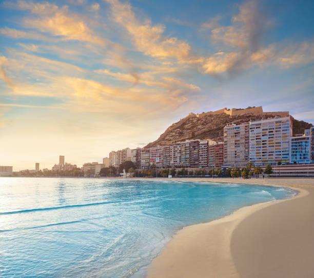 Alicante Postiguet Beach in Costa Blanca stock photo