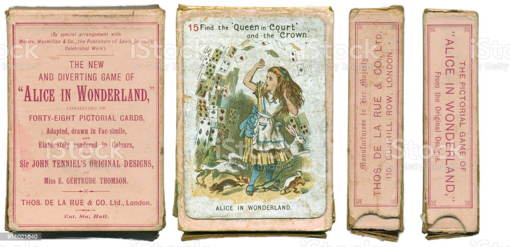 Alice In Wonderland playing cards 1898 stock photo