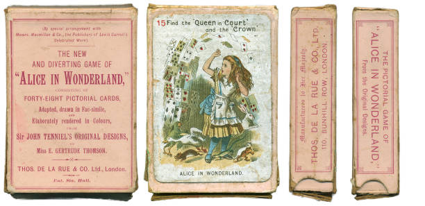 alice in wonderland playing cards 1898 - whiteway alice in wonderland stock photos and pictures