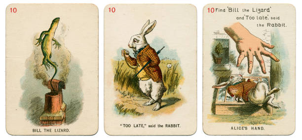 Alice In Wonderland playing cards 1898 Set 10 stock photo
