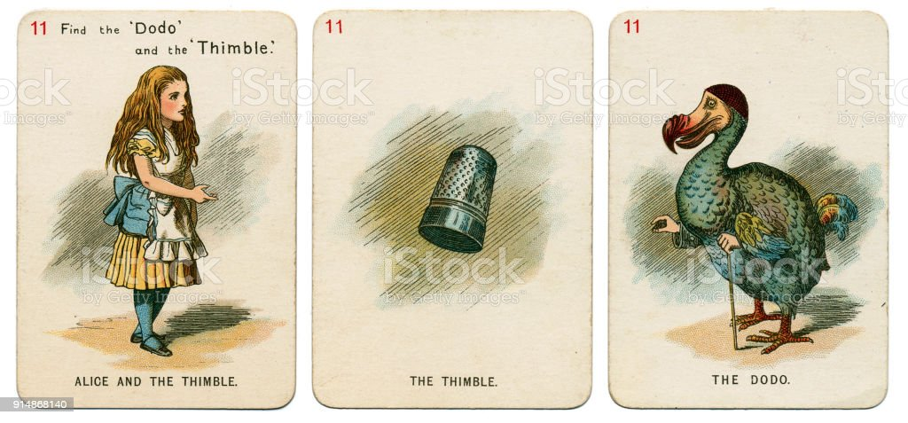 Alice In Wonderland playing cards 1898 Set 11 stock photo