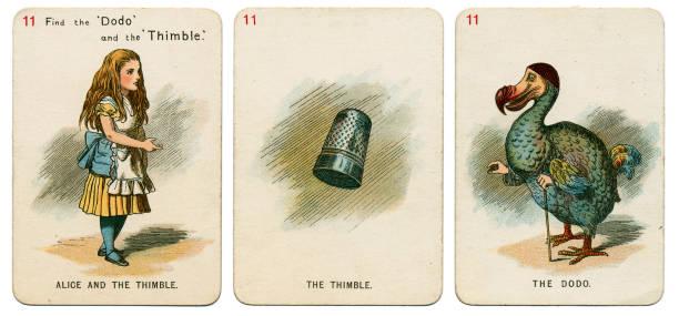 alice in wonderland playing cards 1898 set 11 - whiteway alice in wonderland stock photos and pictures