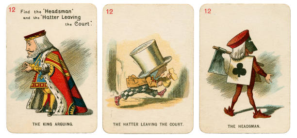 Alice In Wonderland playing cards 1898 Set 12 stock photo