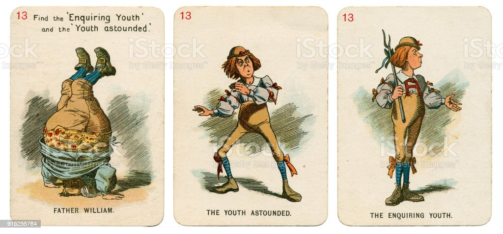 Alice In Wonderland playing cards 1898 Set 13 stock photo