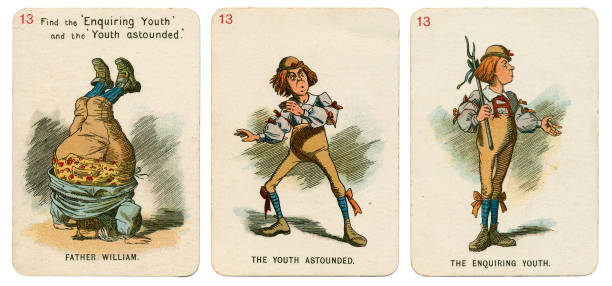 alice in wonderland playing cards 1898 set 13 - whiteway alice in wonderland stock photos and pictures