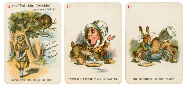 Alice In Wonderland playing cards 1898 Set 14 stock photo