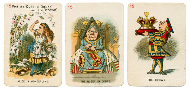 Alice In Wonderland playing cards 1898 Set 15 stock photo