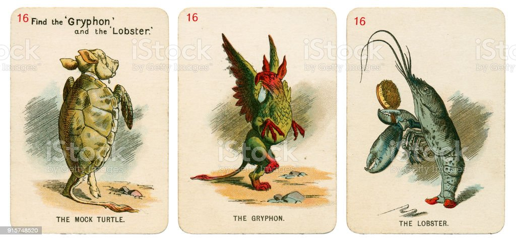 Alice In Wonderland playing cards 1898 Set 16 stock photo