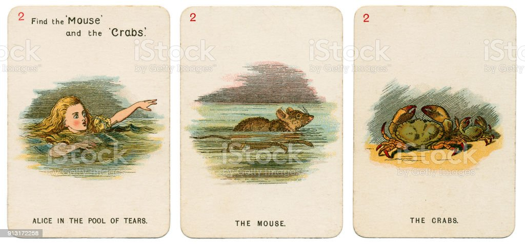 Alice In Wonderland playing cards 1898 Set 2 stock photo