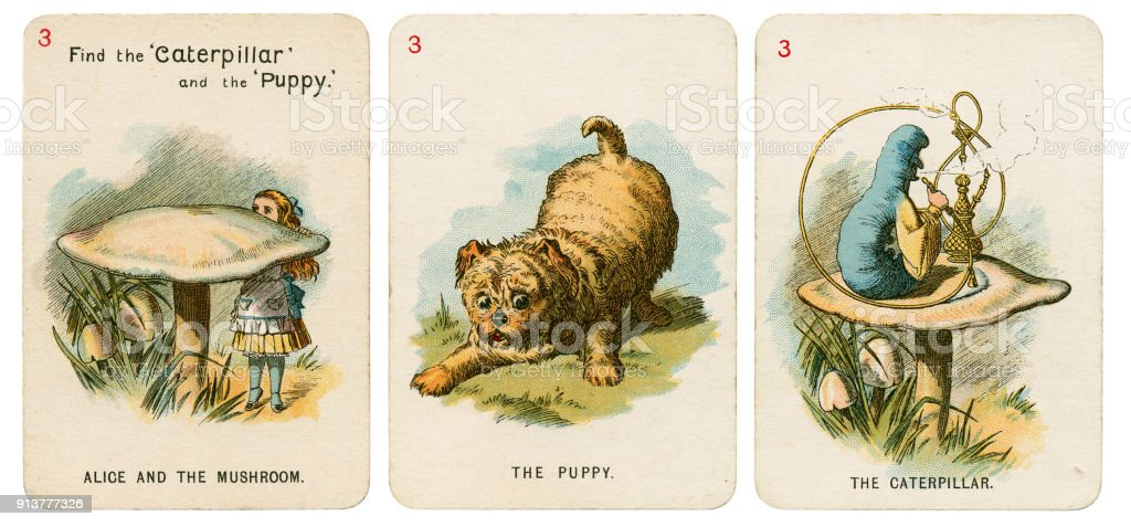 Alice In Wonderland playing cards 1898 Set 3 stock photo