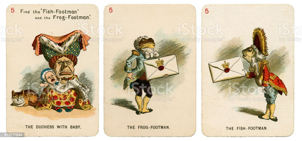 Alice In Wonderland playing cards 1898 Set 5 stock photo