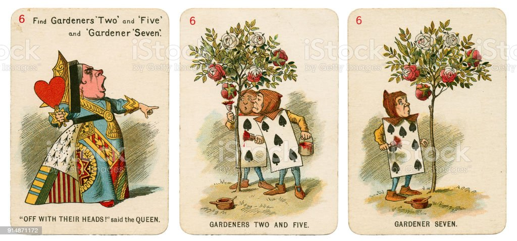 Alice In Wonderland playing cards 1898 Set 6 royalty-free stock photo