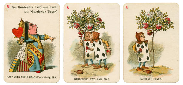 Alice In Wonderland playing cards 1898 Set 6 stock photo