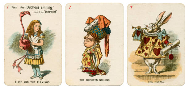 Alice In Wonderland playing cards 1898 Set 7 stock photo