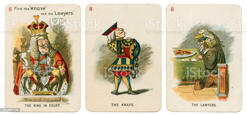 Alice In Wonderland playing cards 1898 Set 8 stock photo