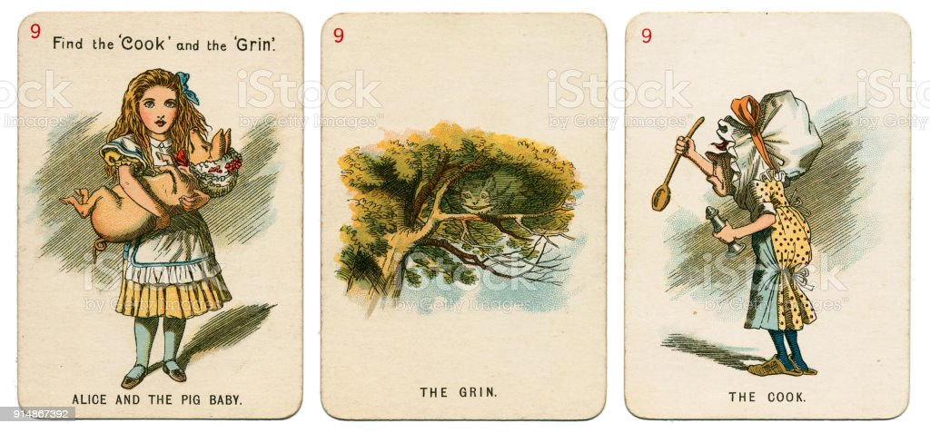 Alice In Wonderland playing cards 1898 Set 9 stock photo