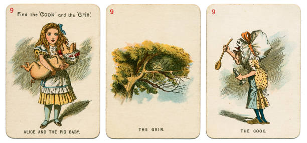 alice in wonderland playing cards 1898 set 9 - whiteway alice in wonderland stock photos and pictures