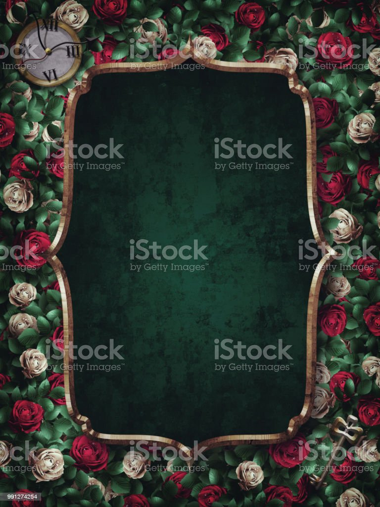 Alice in Wonderland. Red  roses and white roses background and gold frame. Clock and key. stock photo