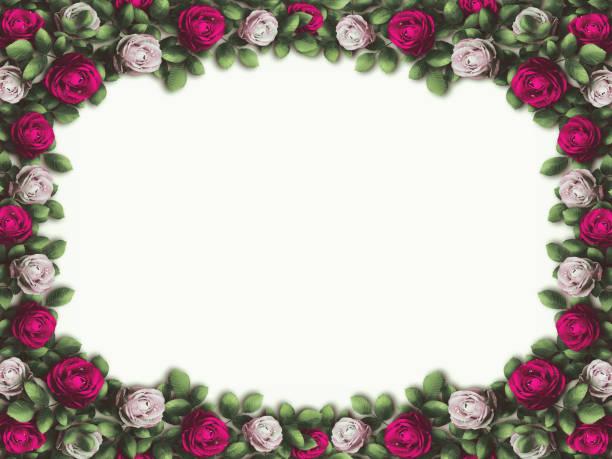 alice im wunderland. rote rosen und weiße rosen auf weißem hintergrund. wunderland-hintergrund. rose blumenrahmen. abbildung - märchenillustrationen stock-fotos und bilder