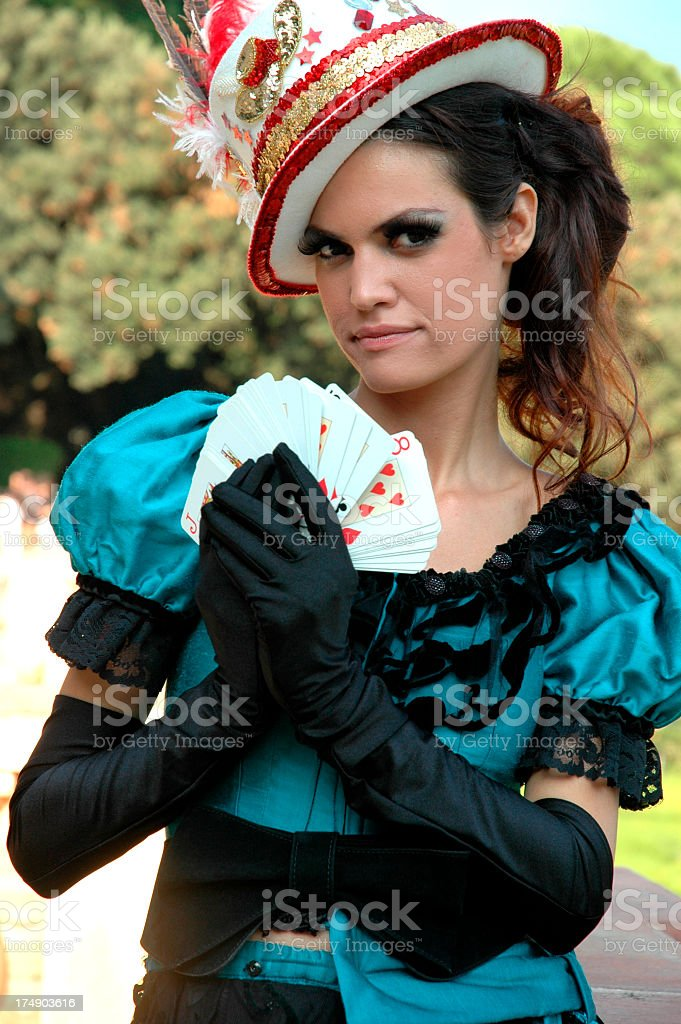 Alice showing her cards royalty-free stock photo