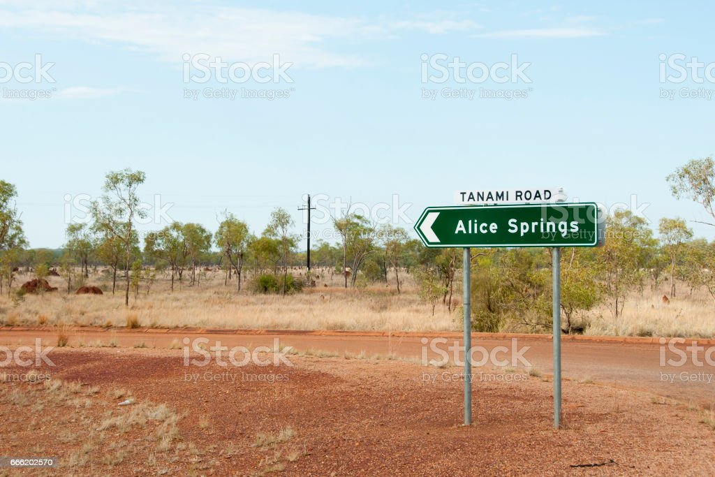 Alice Springs Road Sign - Australia stock photo