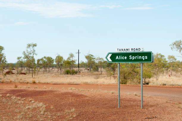 Alice Springs Road Sign - Australia stock photo