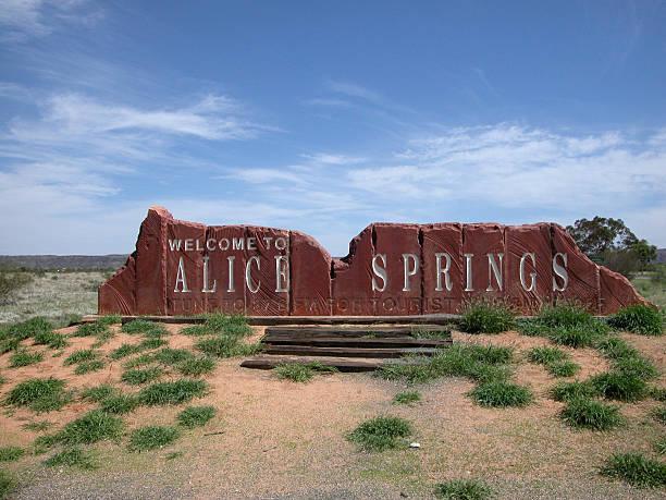 Alice Springs sign stock photo