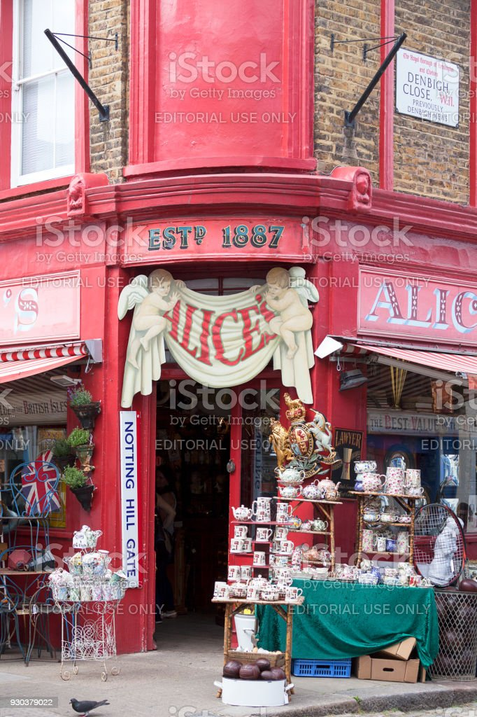 Alice's shop, famous antique shop at the Portobello road, shopwindow, Nothing Hill, London, United Kingdom stock photo