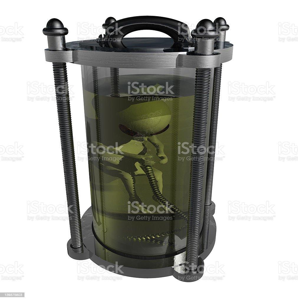 Alien Baby Hibernation Tank (Isolated) royalty-free stock photo