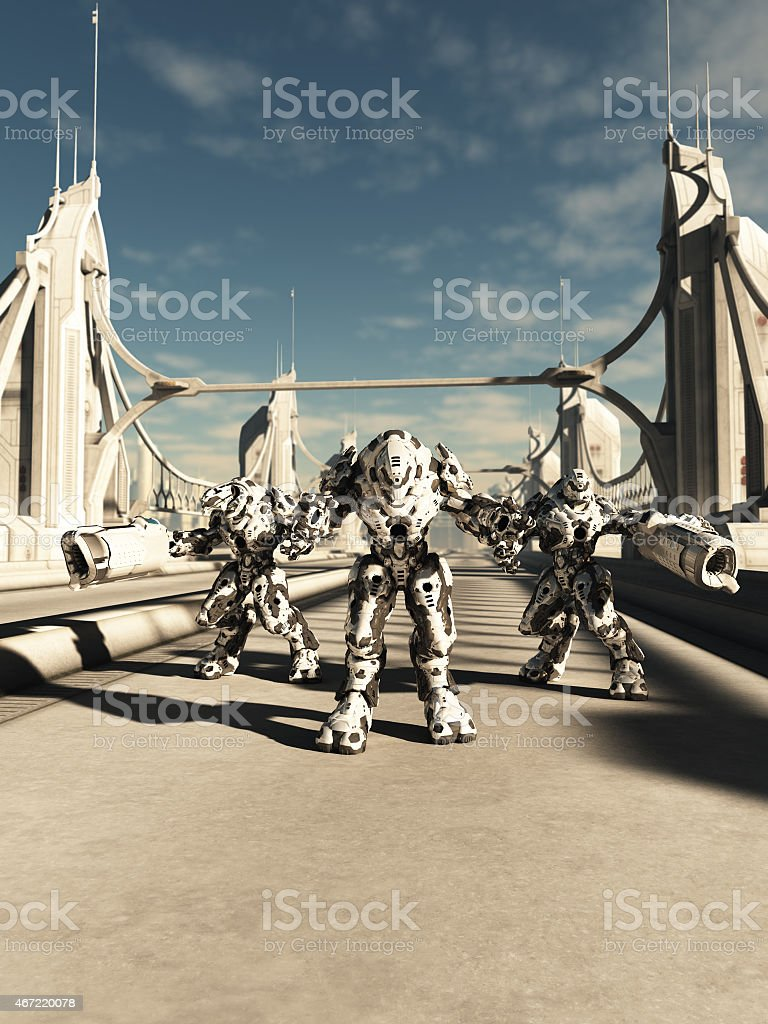 Alien Battle Robots - Brothers in Arms stock photo