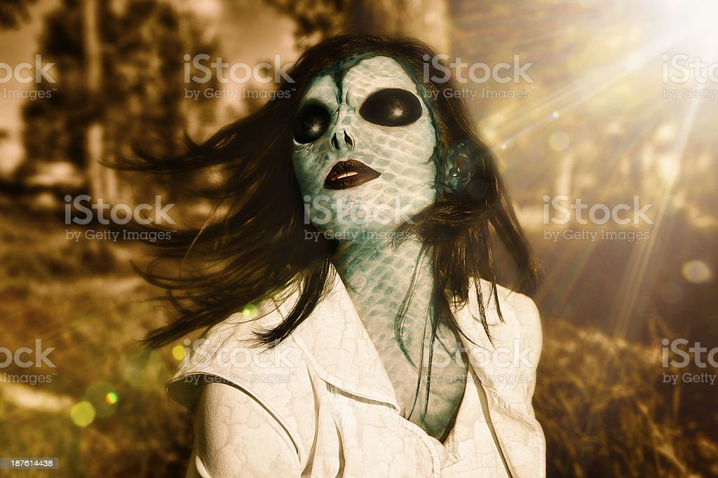 Alien Beauty - Wearing Special Effects Makeup stock photo