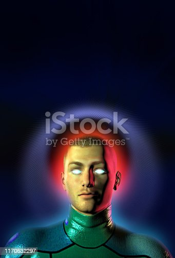 Alien boy upgrading his operative system, cyborg, 3d illustration