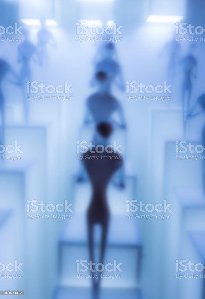 alien clone blur blue science technology background stock photo