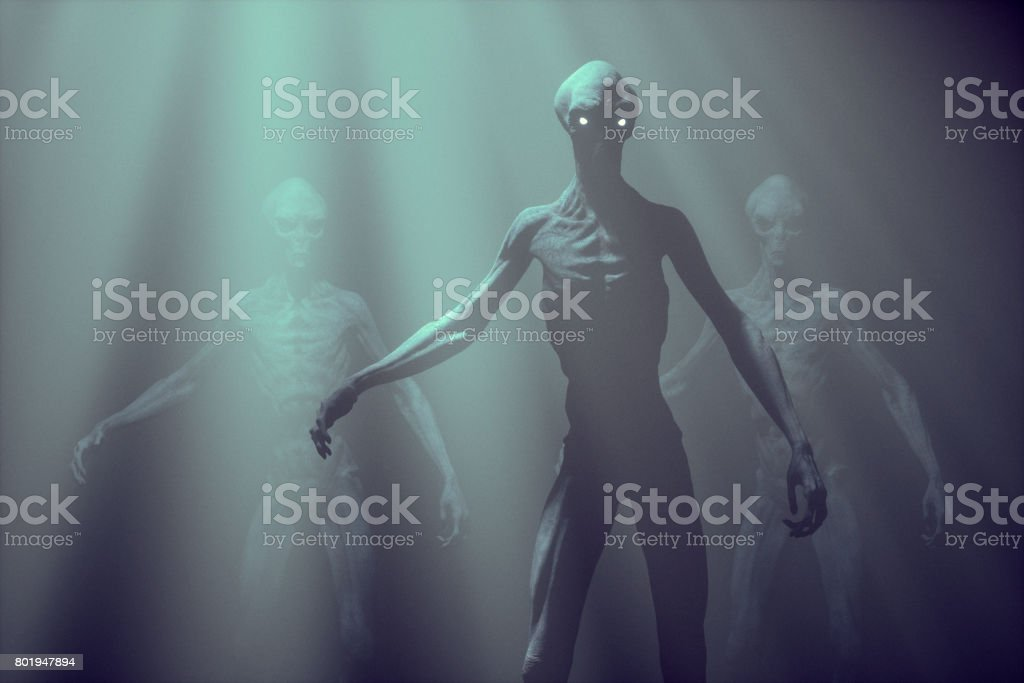 Alien creature in fog stock photo