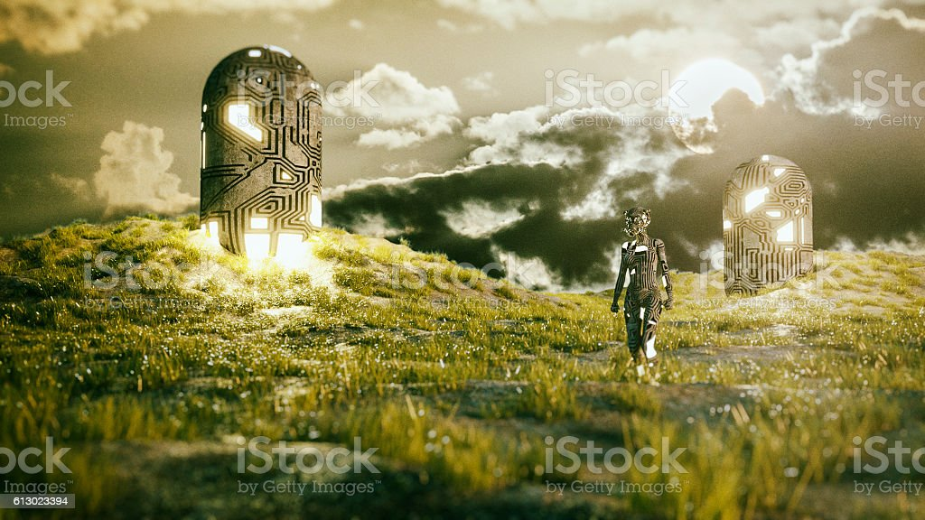 Alien cyborg landing on a green planet stock photo