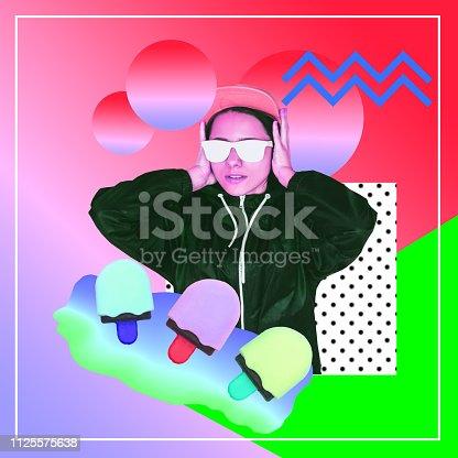 1125575680 istock photo alien dj girl on vacation among ice creams 1125575638