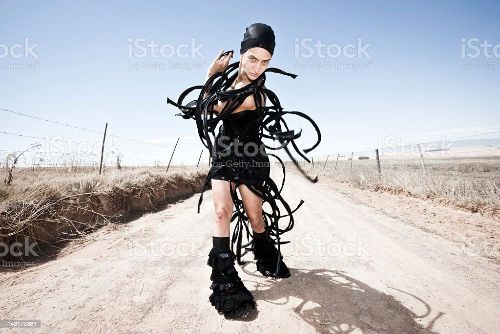 Alien Fashion Surreal South African Gravel Road Portrait royalty-free stock photo