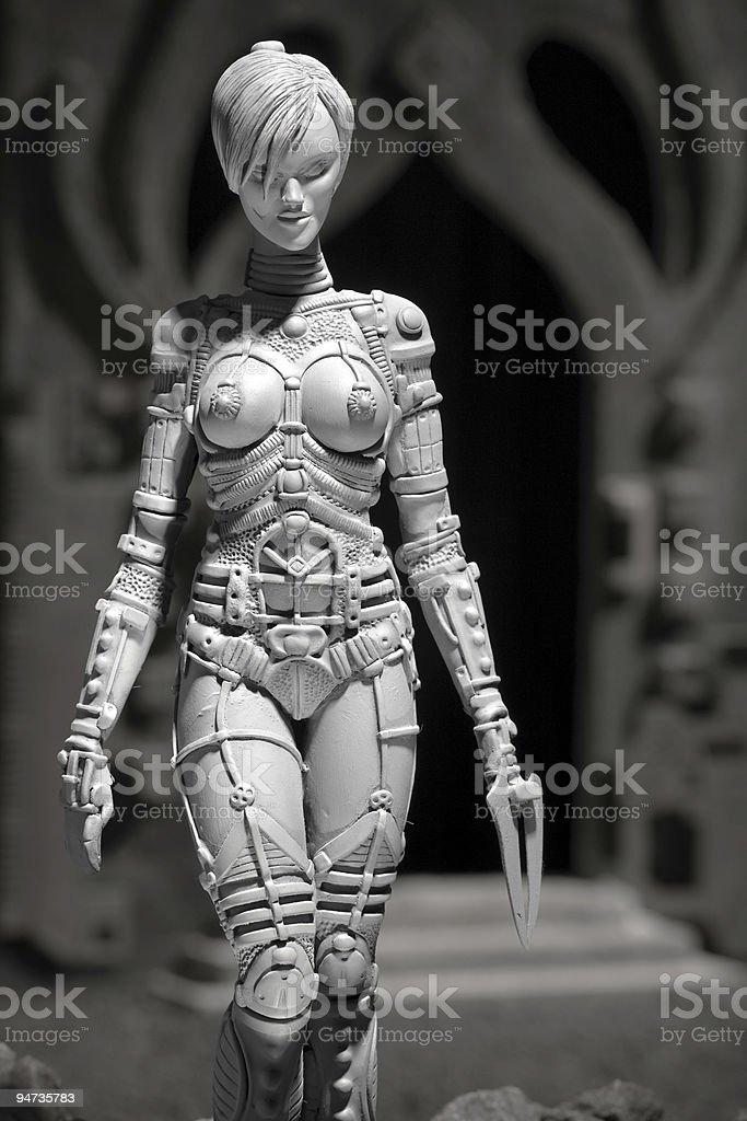 Alien grey female creature stock photo