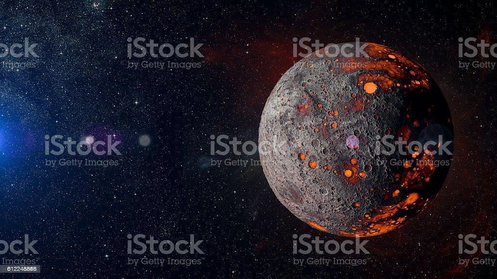 Alien hot planet on nebula background 3d rendering. stock photo