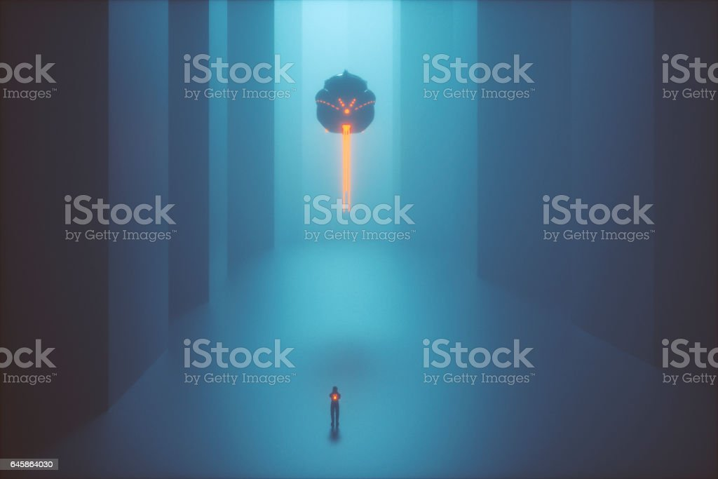 Alien human collector on foggy street at night stock photo