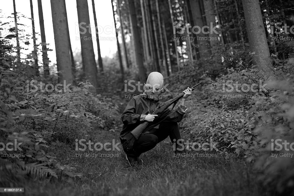 Alien hunter stock photo