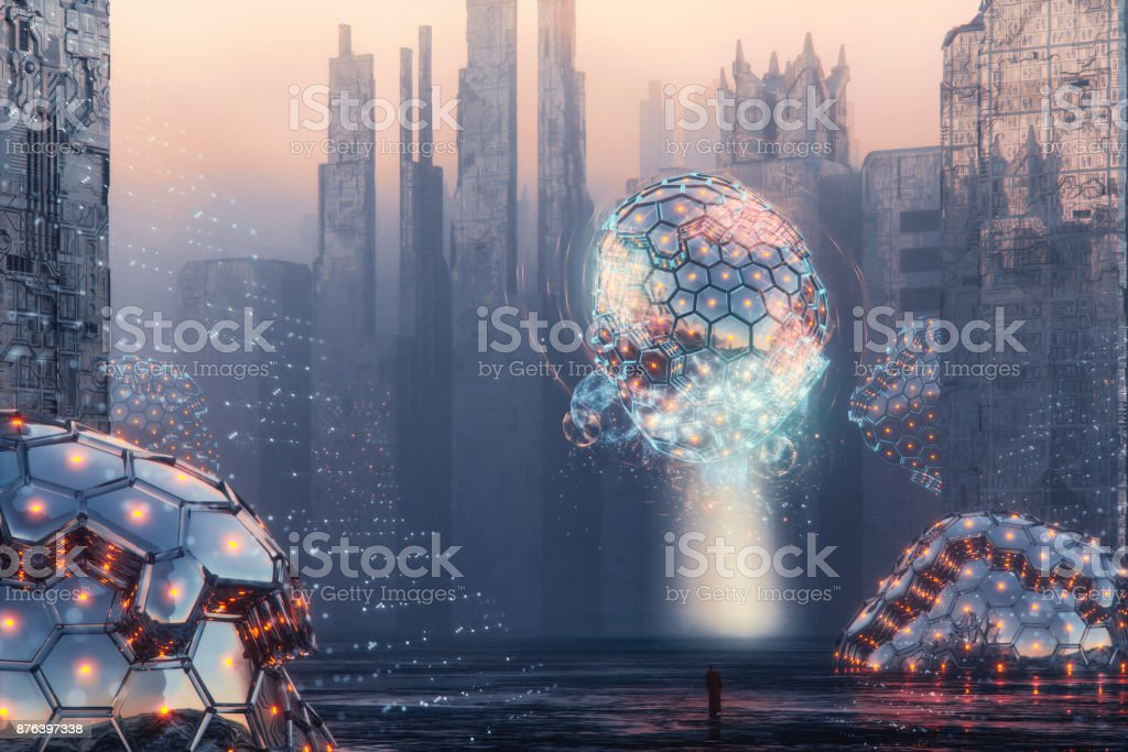 Alien invaded futuristic city with walking priest stock photo