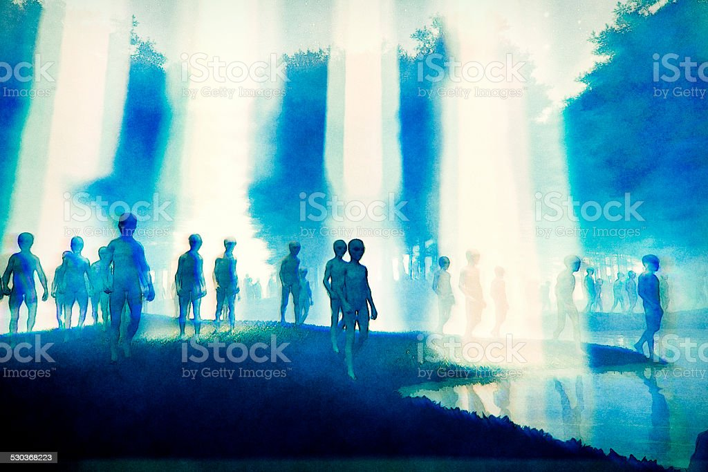Alien invasion in the forest stock photo