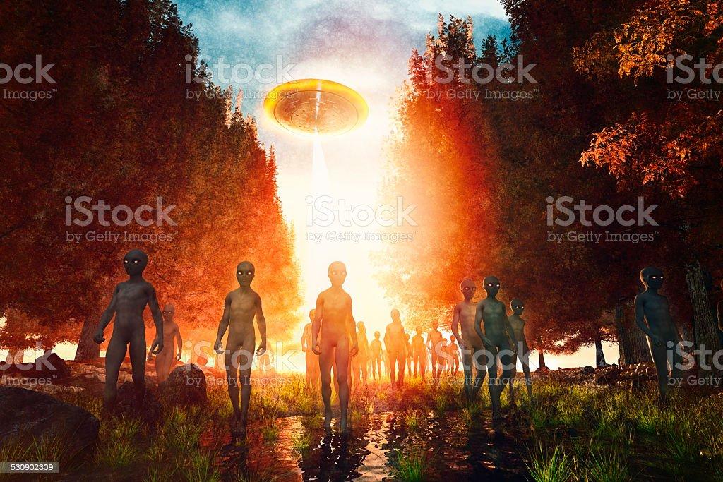 Invasão Alienígena na floresta, invasão, escuro, assustador - foto de acervo