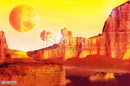 istock Alien landscape in red tones. Fantastic fairytale concept. Artistic image. 821337772