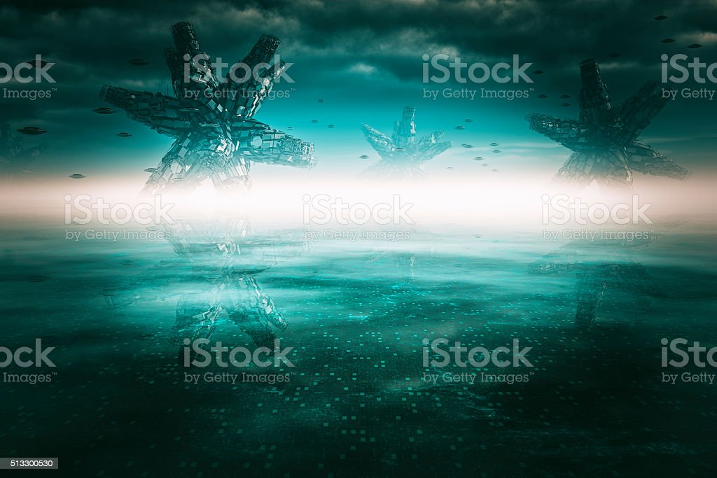 Alien landscape on distant planet stock photo